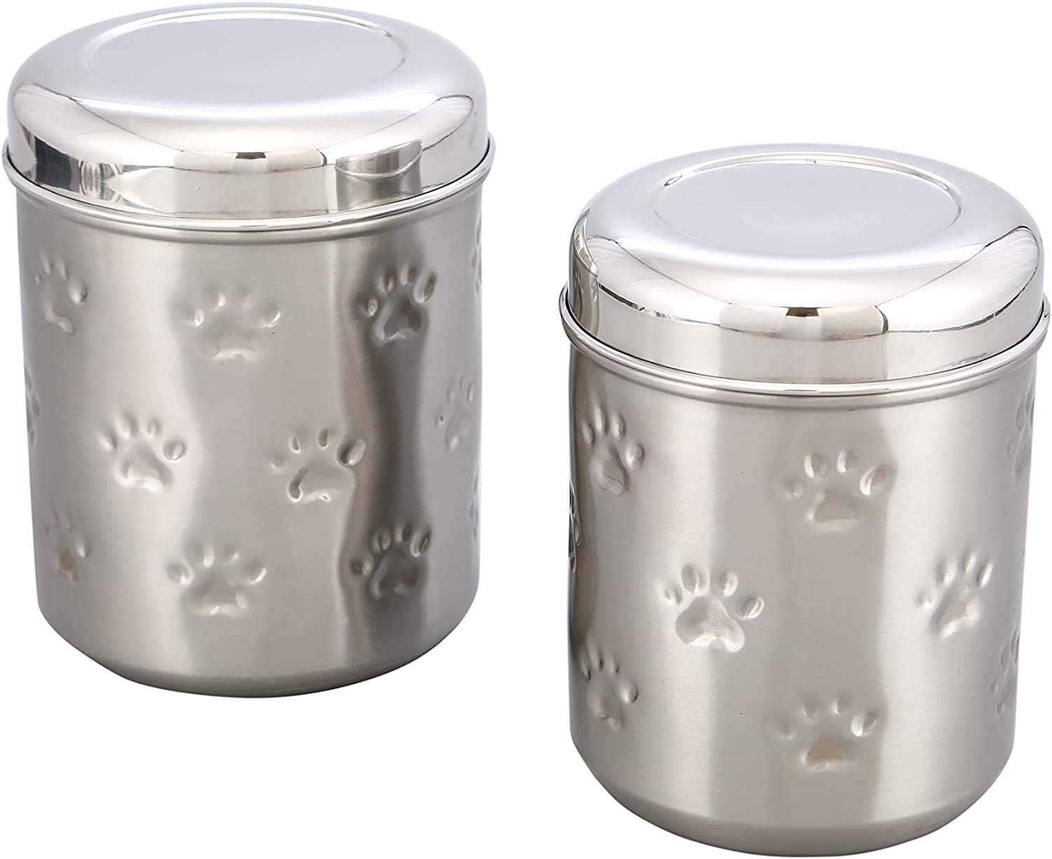 Artisans Village Pet Canisters Fresh Dry Dog & Cat Food Storage Container Stainless Steel for Pet Food, and Bird Seed Shine (Large) - Amazon Vine