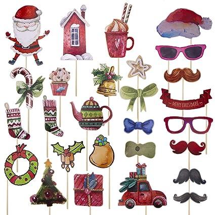 e5fb7bb585162 Amazon.com  Christmas Photo Booth Props Watercolour 27Pcs