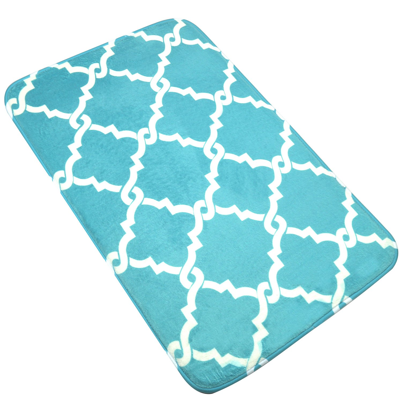 Bath Mat, U'Artlines Comfort Extra Thick Memory Foam Bath Mat Set Bathroom Mats Shower Rugs with Sbr Back and Flannel Surface (17.7x47.3, Blue)