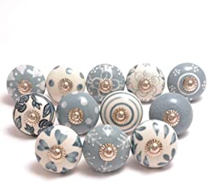 Eleet Assorted Ceramic Cabinet Knobs - Pack of 12 Grey & White Vintage Cabinet Cupboard Door & Drawer Pulls Chrome Hardware (12, Grey & White)