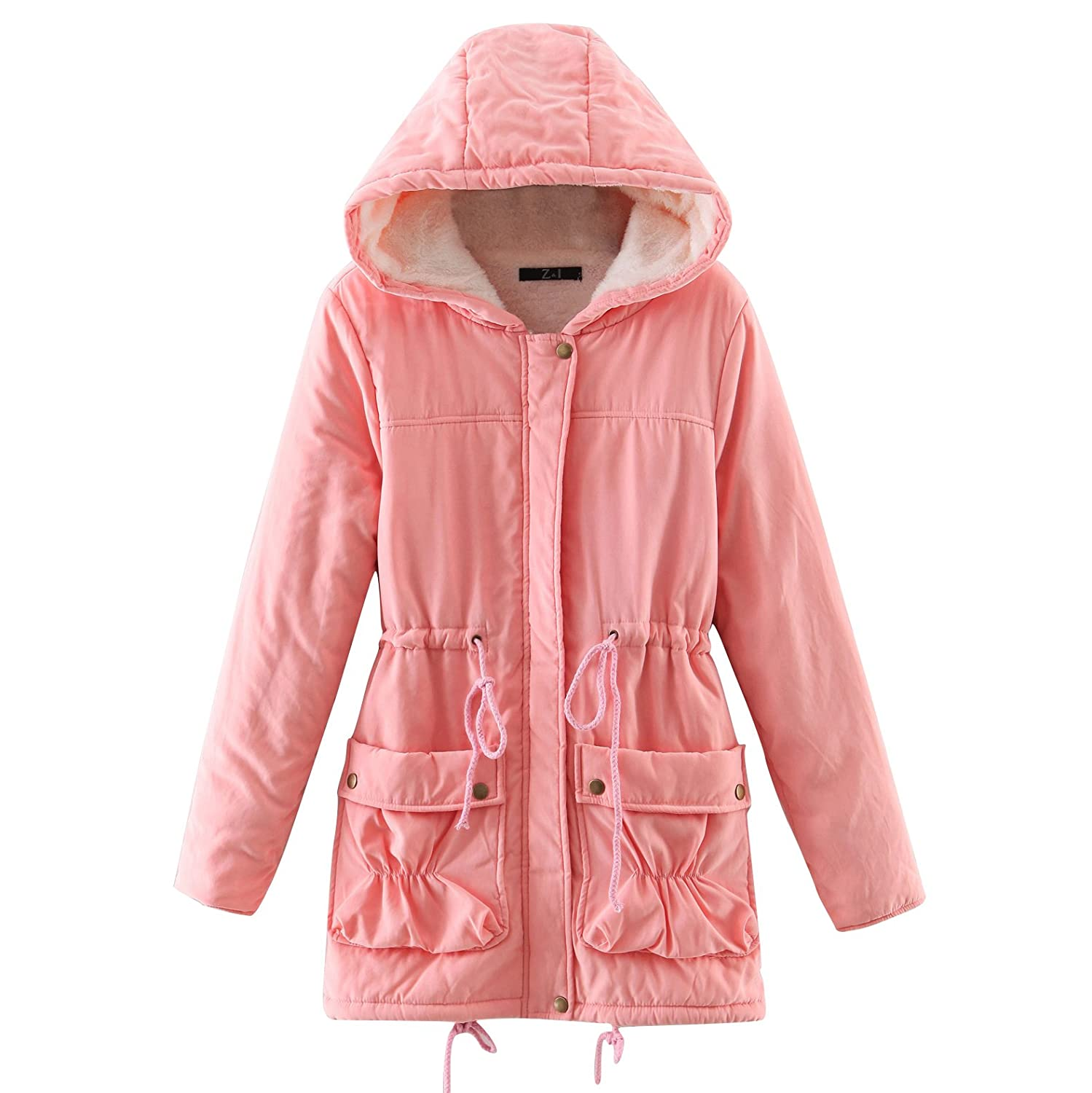 ACE SHOCK Winter Coats for Women Hooded, Faux Fur Lined Parka Jackets with Belt Long Warm Black Green Pink Navy