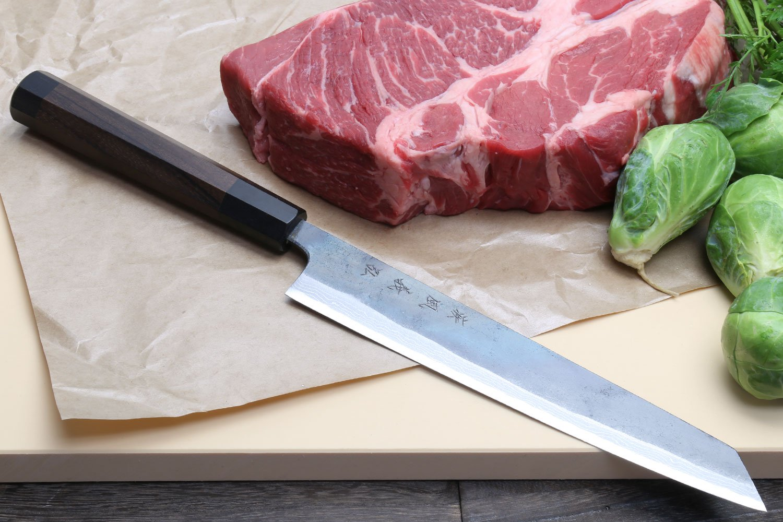 Yoshihiro Kurouchi Black Forged Suminagashi Damascus Blue Steel #1 Utility Slicer Kiritsuke Japanese Chef Knife Rosewood Handle 9.5'' (240mm)