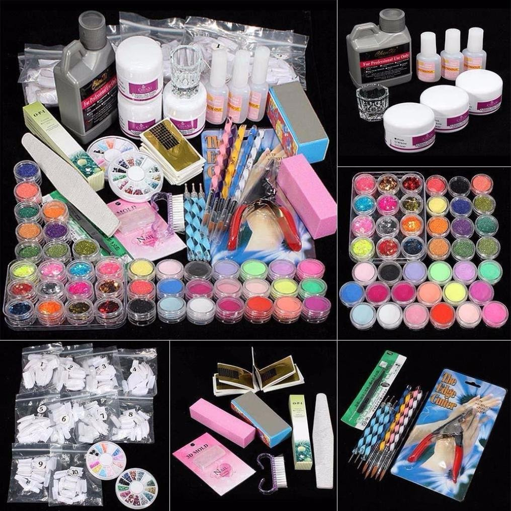 Nail Art Deco Tips Set,Putar Sexy 21 in 1 Professional Acrylic Glitter Color Powder Nail Art Deco Tips Set