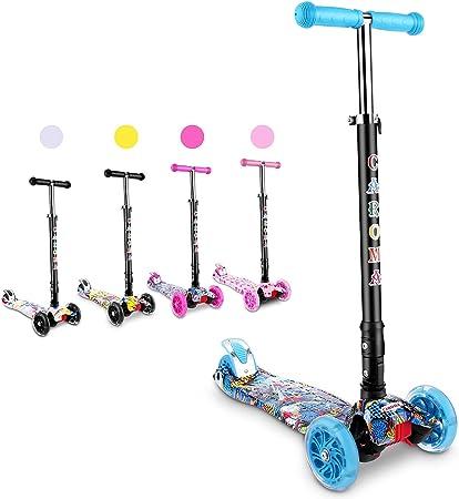 CAROMA Kids Kick Scooters Folding  3 Adjustable Height 2 Flashing LED Wheels