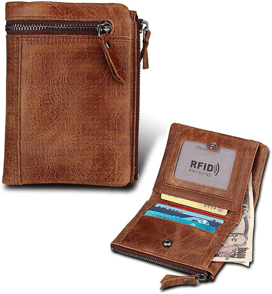 RFID Blocking Genuine Leather Men/'s Bifold Wallet Credit Card Holder Coin Purse