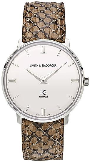 Smith & smoorcer Fisherman Snowy Viper Stone Reloj para Hombre Analógico de Cuarzo Suizo con Brazalete