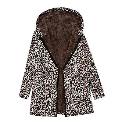 Abrigo de Invierno para Mujer, Estampado de Leopardo Outwear Abierto Abrigo De Invierno con De Lana Caliente Blusa Tops Chaqueta Sueter: Ropa y accesorios