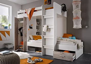 Kinderzimmer Mit Etagenbett : Amazon etagenbett weiß grau inkl kleiderschrank