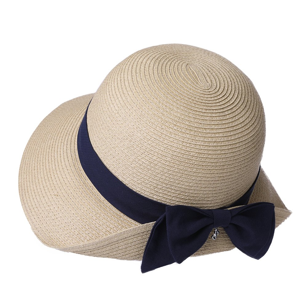 SiggiHat Summer Straw Sun Hat for Women Beach Floppy Fedora Panama Hats SPF Travel Foldable Wide Brim Beige by SiggiHat