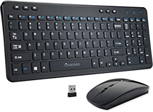 Wireless Keyboard and Mouse Combos, Cnacnoo Full Size Slim Keyboard 2.4GHz Silent Mouse with Nano USB Receiver Multimedia Keys for Windows, Laptop, PC, Notebook Free OTG Cable for Android Tablet Phone
