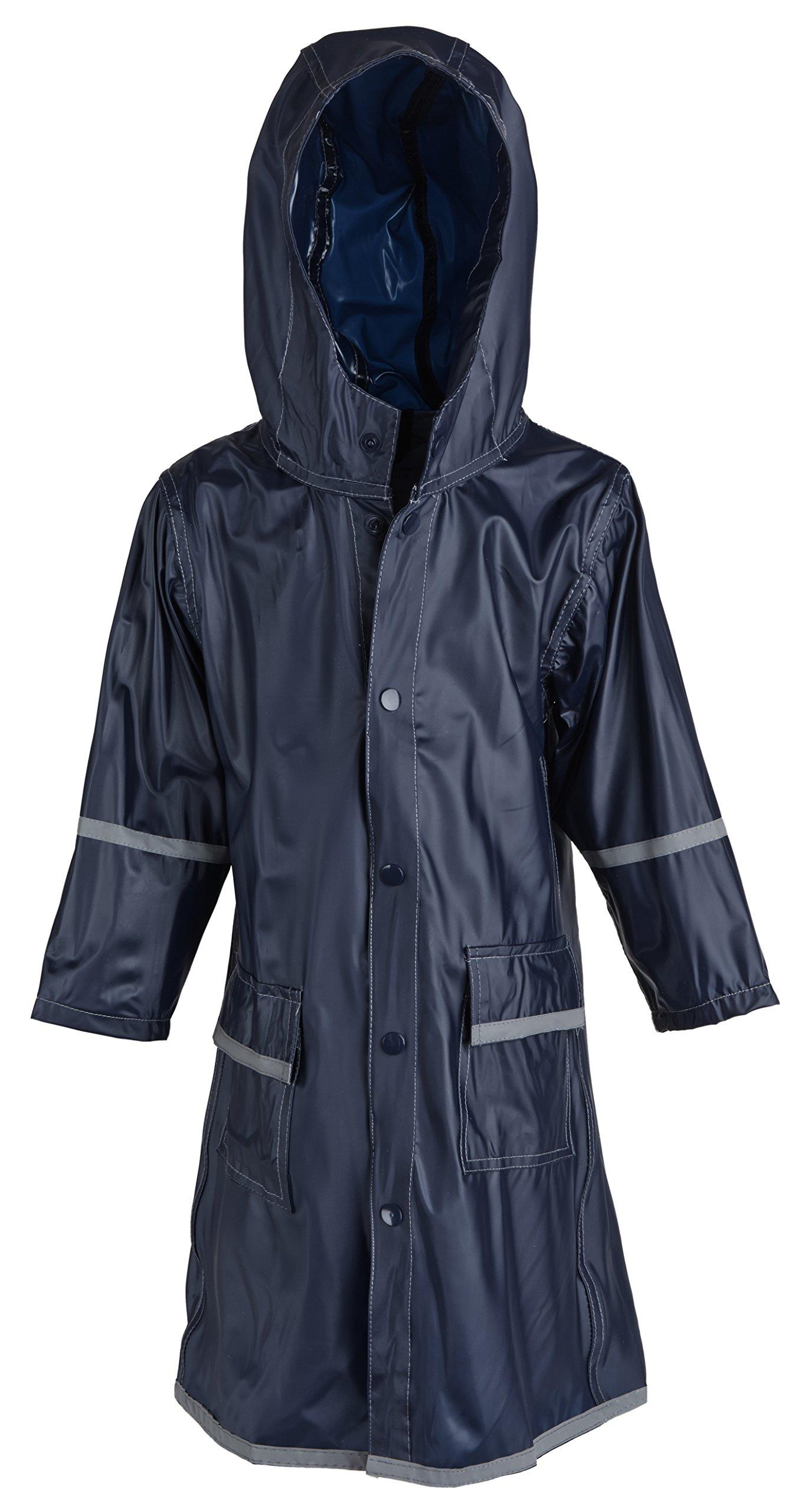 Big Boys Kids Waterproof Full Length Long Hooded Raincoat Jacket for Children - Blue (X-Large)