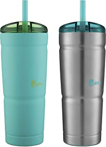 Bubba Envy S Insulated Stainless Steel Tumbler with Straw, 24oz Ideal Travel Mug that is Stain, Sweat, and Odor Resistant, Insulated Water Bottle to Take on the Go, Tidal Wave and Stainless Steel