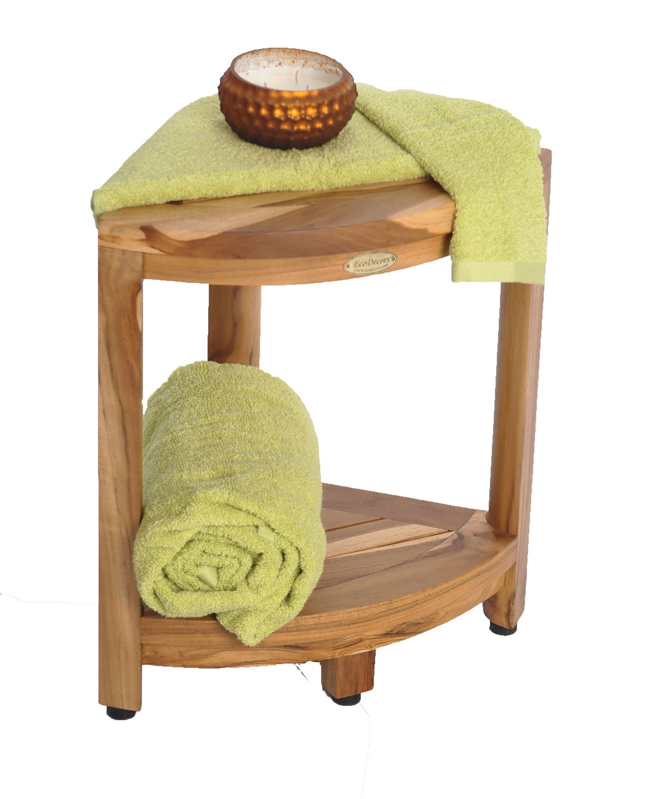 New- EcoDecors EarthyTeak™ FULLY ASSEMBLED 2-Tier Compact Teak Corner Shower Foot Stool With Shelf- Shower Storage, Shaving Foot Rest by EcoDecors (Image #2)