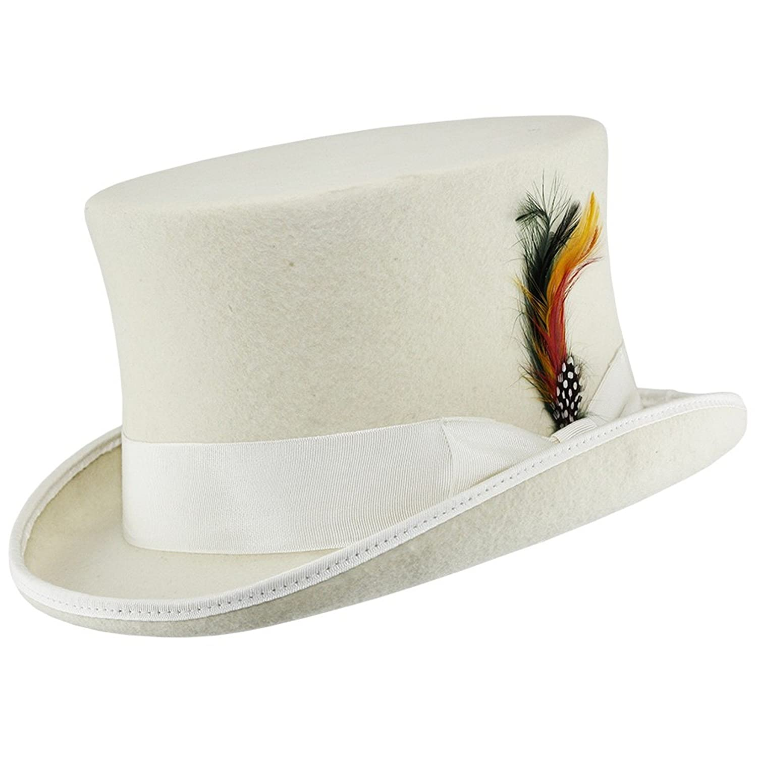 WHITE 100% WOOL SATIN LINED WEDDING EVENT FELT TOP HAT WITH FEATHER