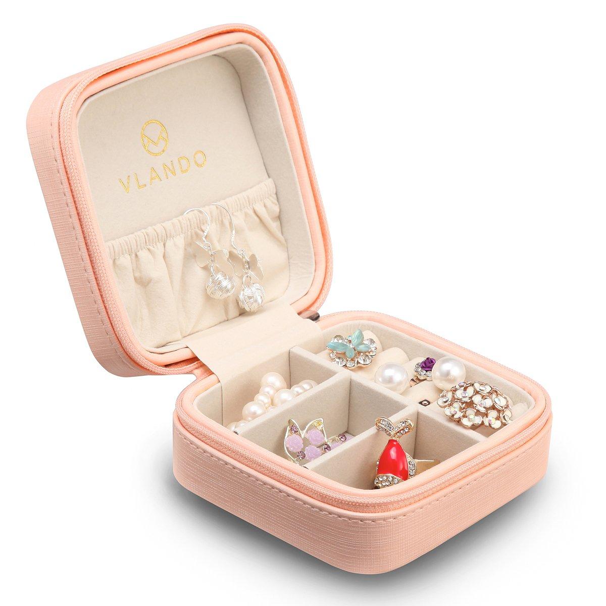 Vlando Small Faux Leather Travel Jewelry Box Organizer Display Storage Case