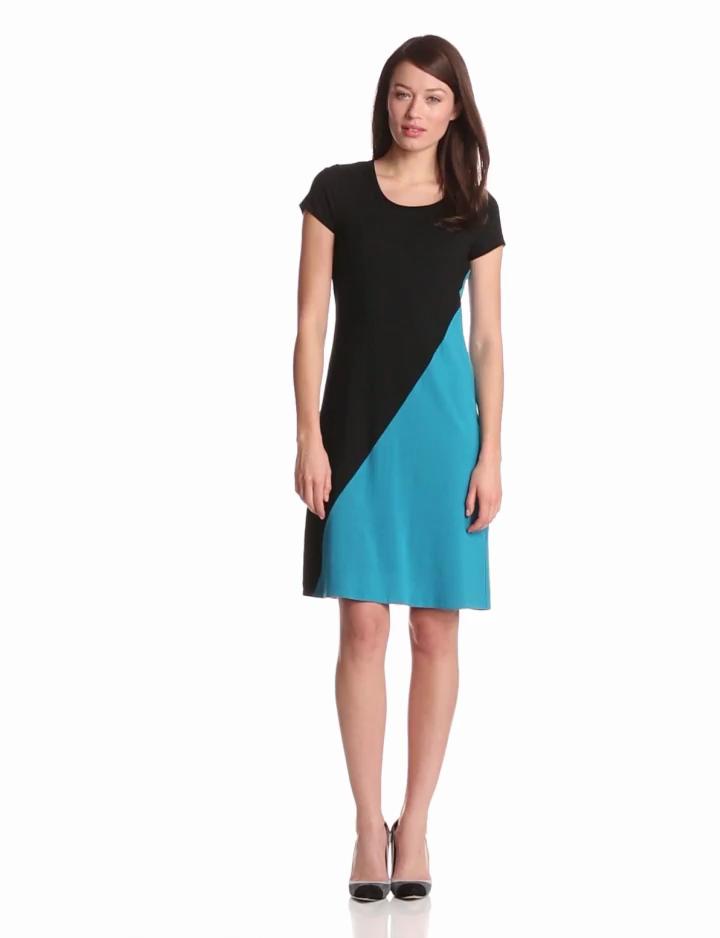 Karen Kane Womens Diagonal Colorblock Dress