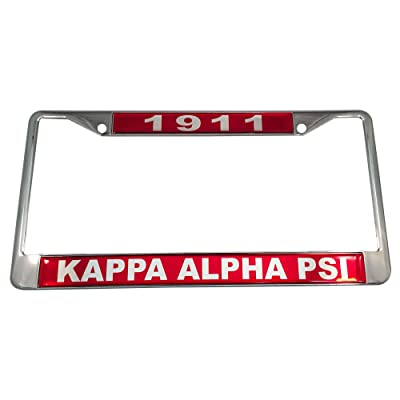 Kappa Alpha Psi Silver License Plate Frame Found Year and Name: Garden & Outdoor