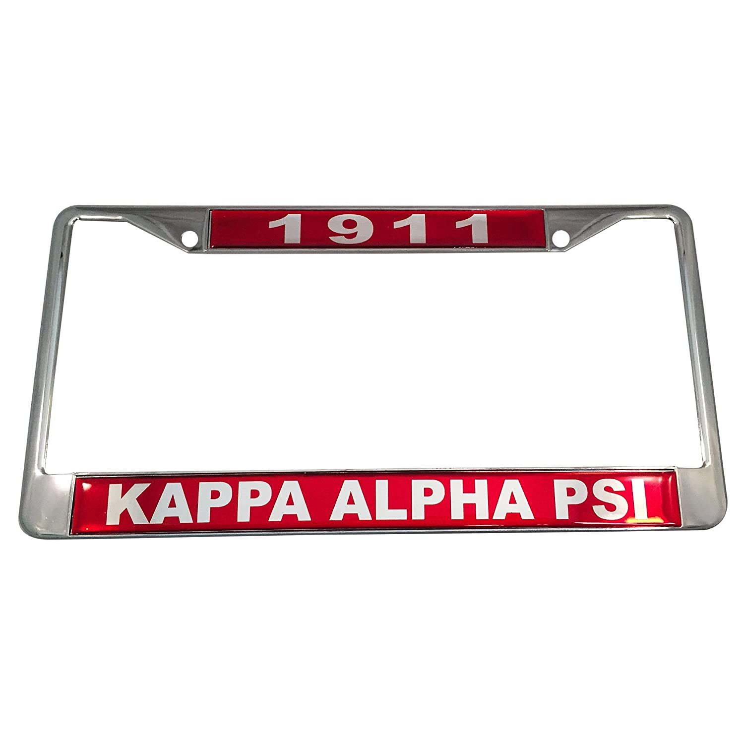 Kappa Alpha Psi Silver License Plate Frame Found Year and Name