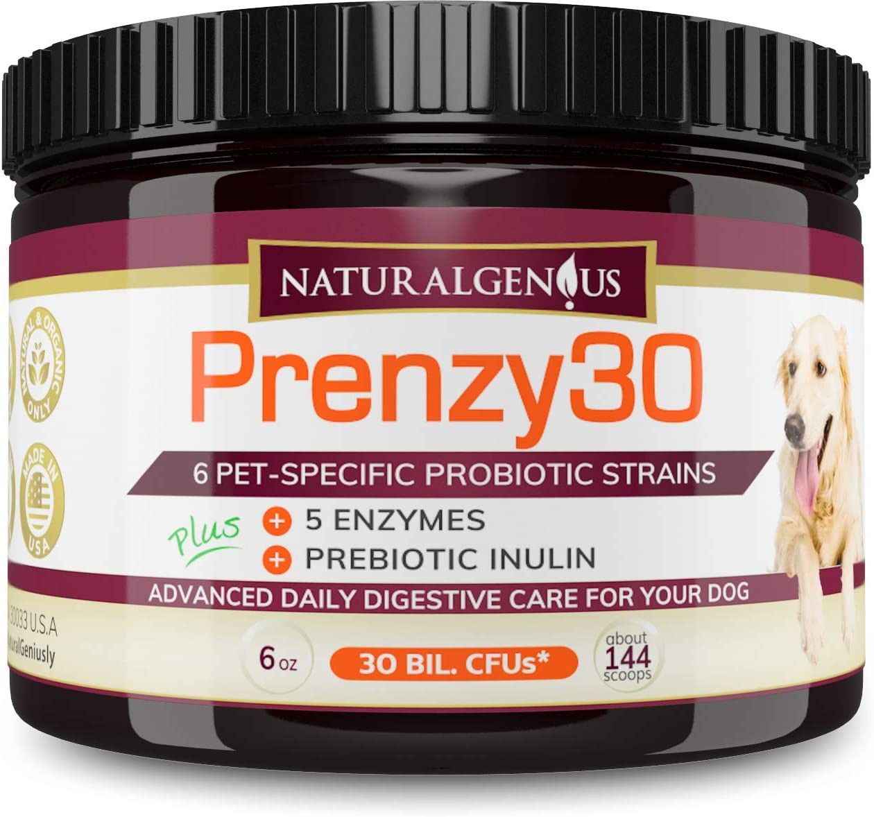 NATURALGENIUS Prenzy30 Probiotics & Enzymes | Fights Dogs Diarrhea, Constipation, Gas, Yeast Infection | Non-GMO Natural Organic for Overall Digestive Health | Made in USA 5-mo Supply