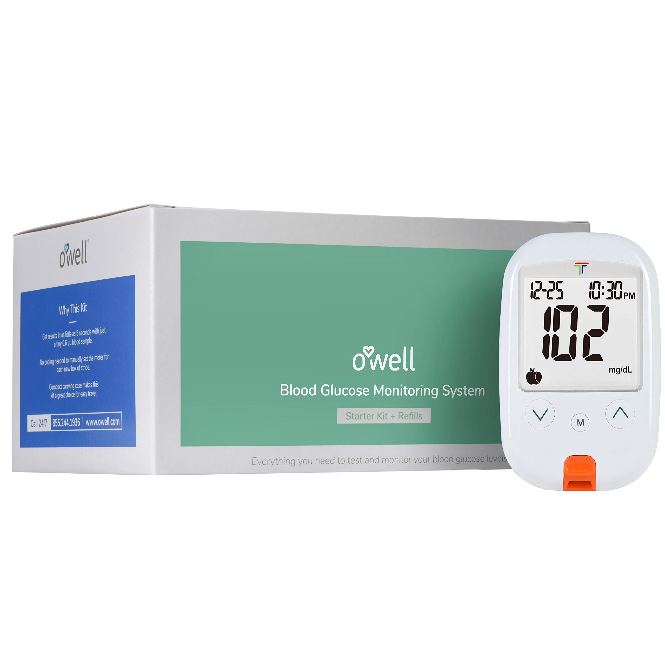 O'WELL Tyson Blood Glucose Monitoring Kit | Starter Kit + 100 Refills | Tyson HT100 Meter, 100 Test Strips, 100 Lancets, Lancing Device, Control Solution, Log Book, Manuals and Carry Case by OWell