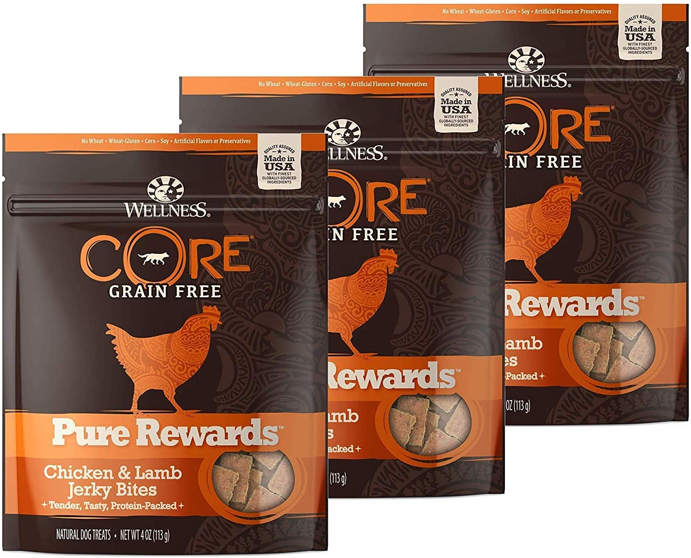 WELLNESS CORE 3 Pack Natural Grain Free Dog Treats, Soft Jerky Bites, 4-Ounce Bag