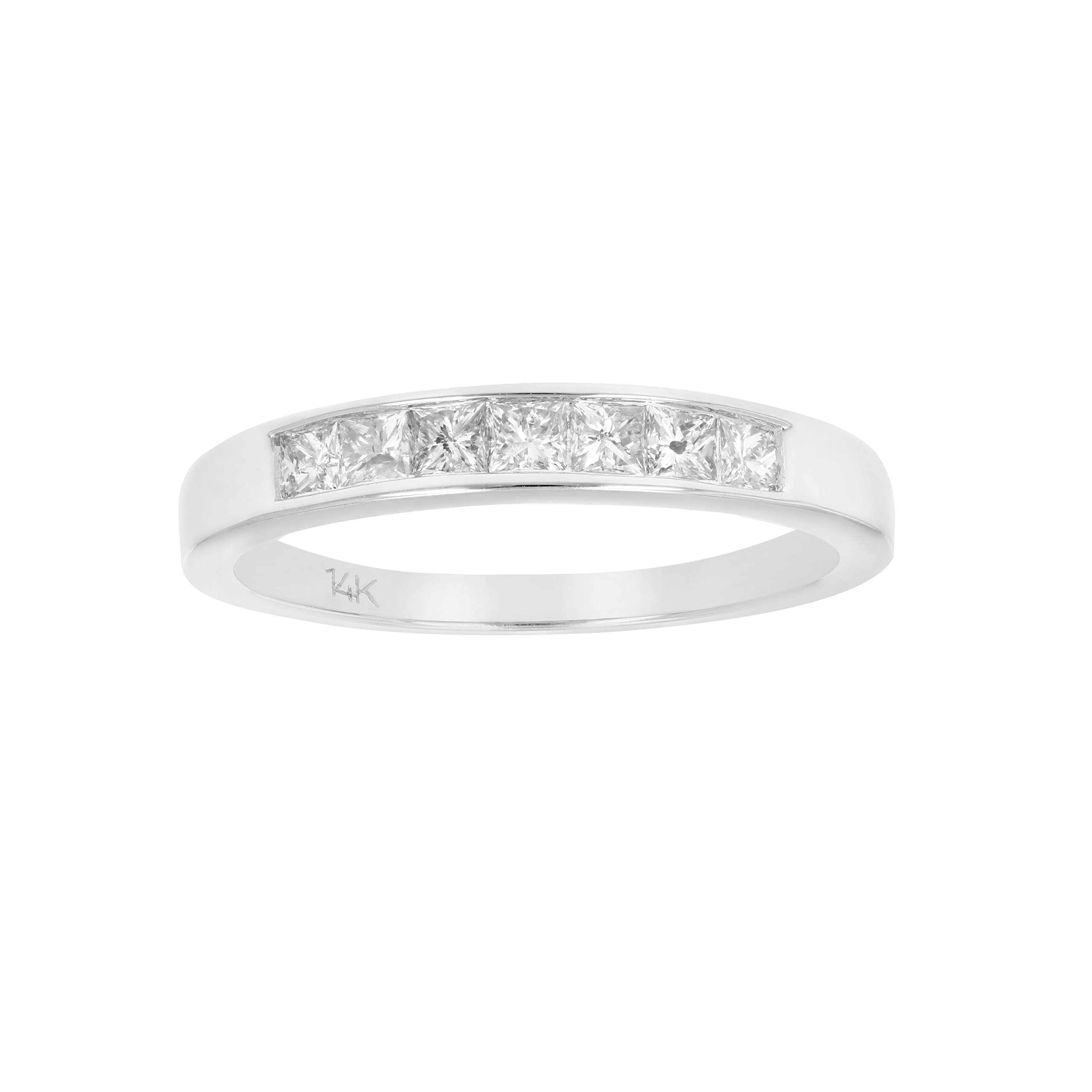 1/2 CT 7 Stones Princess Diamond Wedding Band in 14K White Gold In Size 7