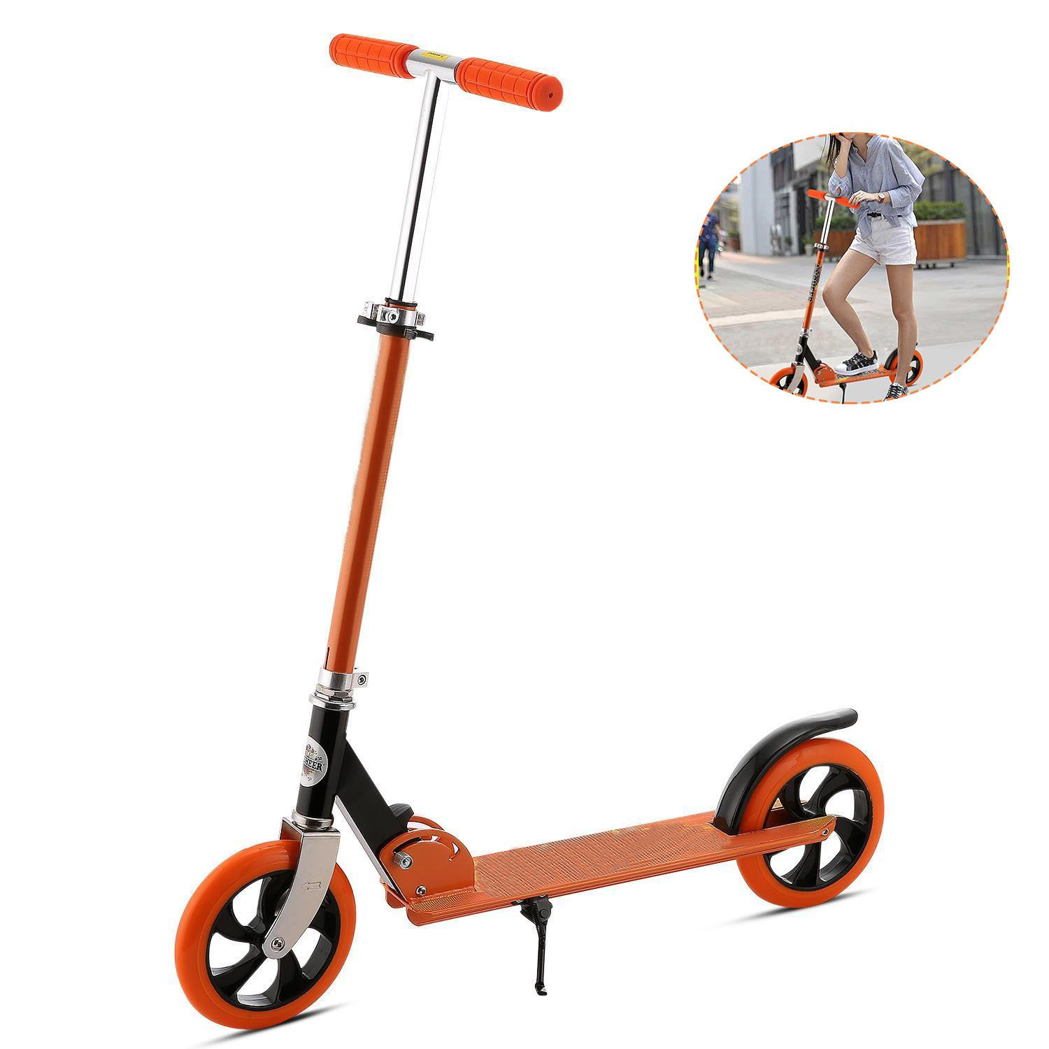 Cheesea Adult Kick Scooter, City Street Push Scooter for Teens, Height Adjustable, 3-Seconds Easy-Folding Mechanism, Aluminum Alloy Frame, Smooth & Fast Ride