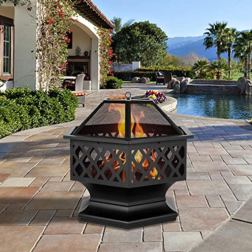 Outdoor Fire Pit,27.5″ Firepit Table BBQ Grill Backyard Patio Stove Wood Burning Fire Bowl Chiminea w/Mesh Spark Screen Poker