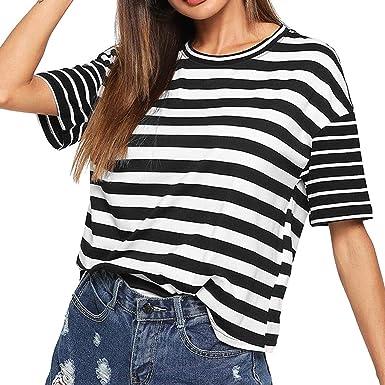 FAMILIZO Camisetas Rayas Mujer, Camisetas Mujer Manga Corta Blouse For Women Camisetas Mujer Verano Blusa Mujer Sport Tops Mujer Verano T Shirt Woman Camiseta Corta Mujer Top: Amazon.es: Ropa y accesorios