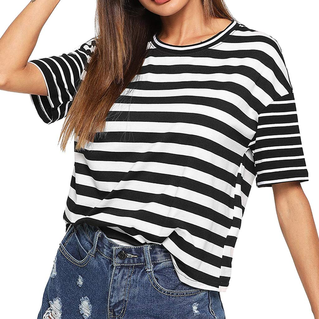 Fashion Womens Tops O-Neck Short Sleeve Striped Print Patchwork Casual Blouse (XL, Black)