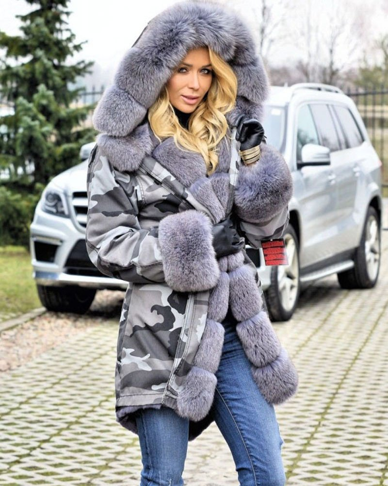 Roiii Plus Size Womens Military Hooded Warm Winter Coats Faux Fur Lined Parkas (Medium, Grey) by Roiii (Image #5)
