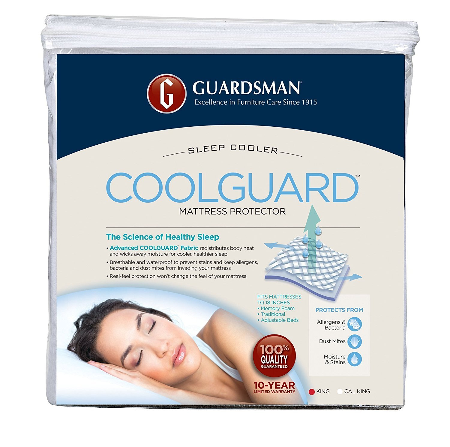Guardsman Cool Guard Waterproof Mattress Protector - King - Keep Cool, Protect Against Stains, Spills, Mishaps - 10 Year Warranty - Reusable(Packaging May Vary) by Guardsman (Image #2)