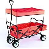 FUXTEC faltbarer Bollerwagen FX-CT350 rot klappbar mit Dach, Vorderrad-Bremse, Strand-Reifen, Hecktasche, für Kinder geeignet - Das Original mit Qualität!