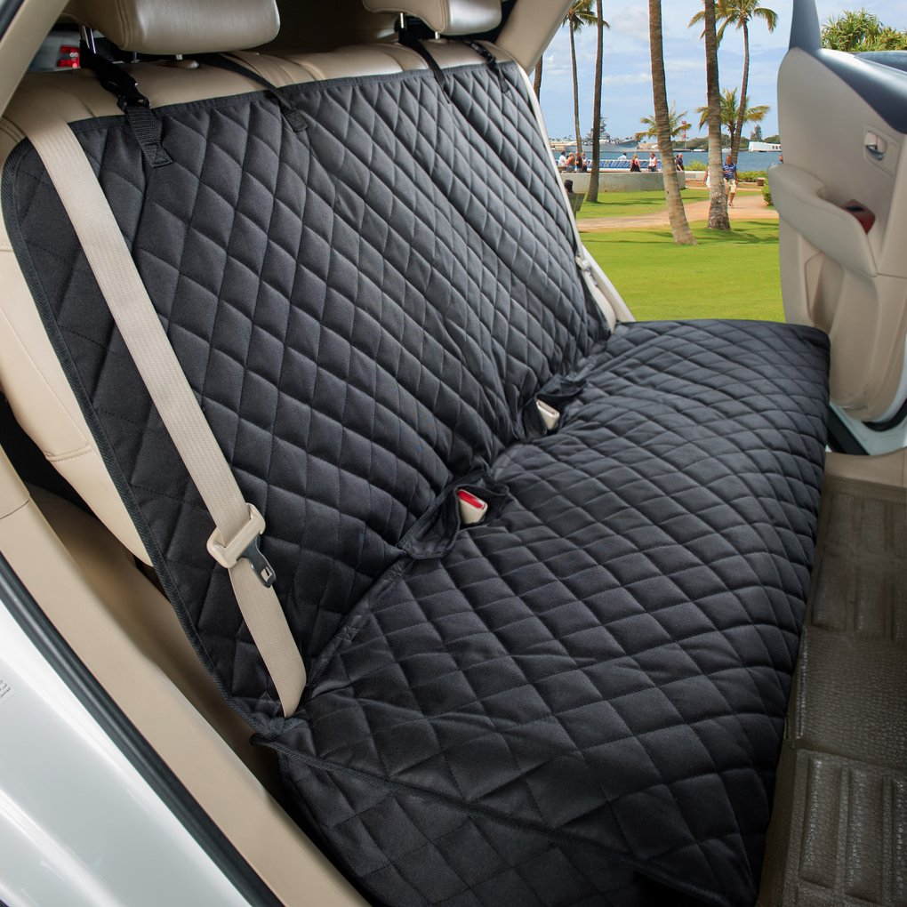 VIEWPETS Bench Car Seat Cover Protector - Waterproof, Heavy-duty Nonslip Pet Car Seat Cover Dogs Universal Size Fits Cars, Trucks & SUVs(BLACK)