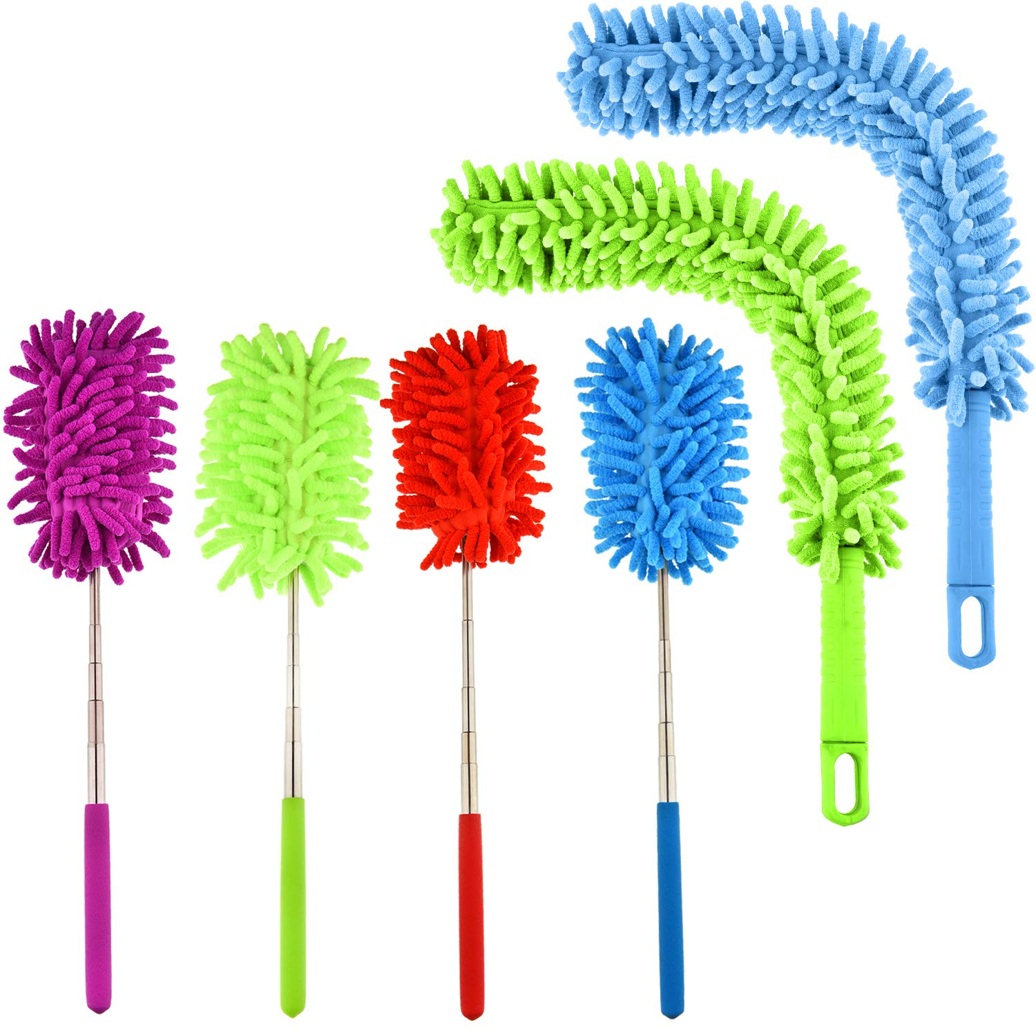 Boao 4 Pieces Extendable Dusting Brush Hand Duster with Telescoping Pole and 2 Pieces Bendable Duster for Ceiling Roof Home Office Car