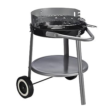 Atril Barbacoa redonda con ruedas en negro y plata