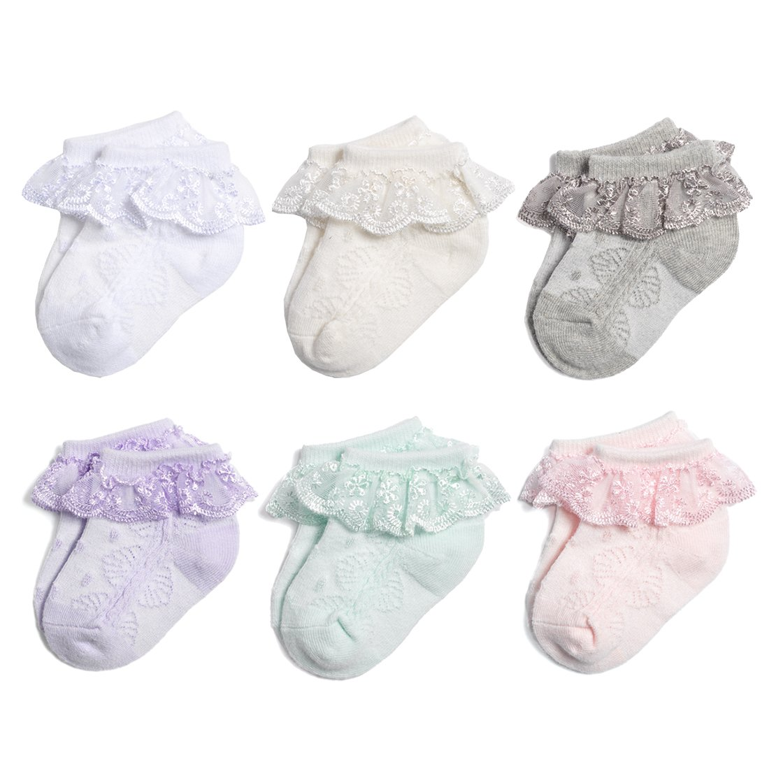 NovForth Baby-Girls Eyelet Frilly Lace Socks(Pack of 6)