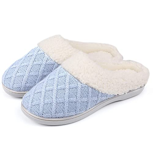 654cf5cbf ULTRAIDEAS Women's Cozy Memory Foam Knit Slippers with Fuzzy Plush  Wool-Like Lining, Ladies' Slip on Mules House Shoes with Indoor Outdoor  Anti-Skid Rubber ...