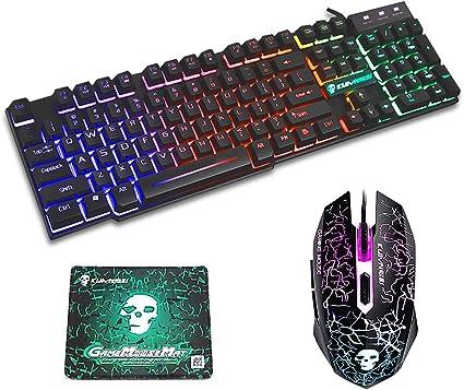 FELiCON Gaming Teclado y Ratón Combo Rainbow LED con ...