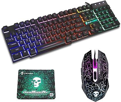 FELiCON Gaming Teclado y Ratón Combo Rainbow LED con retroiluminación USB Ergonomic Multimedia Gamer T6 Conjuntos de Mouse de Teclado con Cable ...