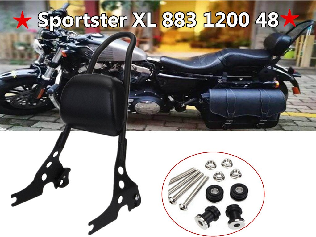 E-Most Motorcycle Scrub Sissy Bar Adjustable Detachable Solid Steel Rear Passenger Backrest For Harley Sportster XL 883 1200 48