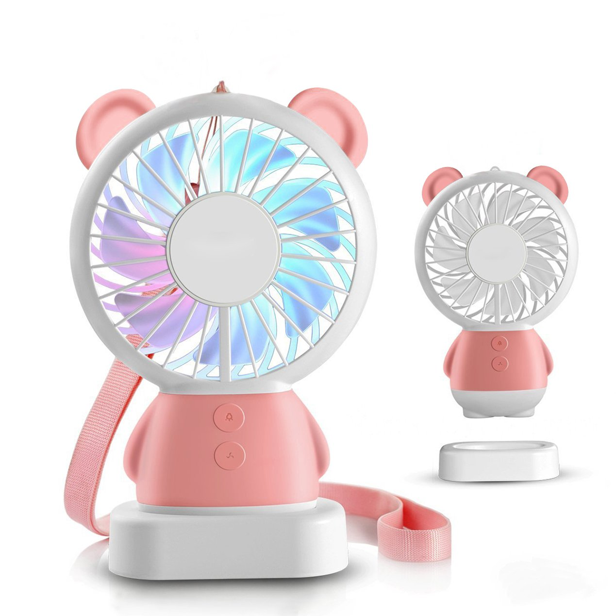 Chof Mini Cute Fan for Kids, Small Handheld Desk Fan for School, Easy Carry and Rechargeable Battery Operated, Best for Children's Day(Pink)