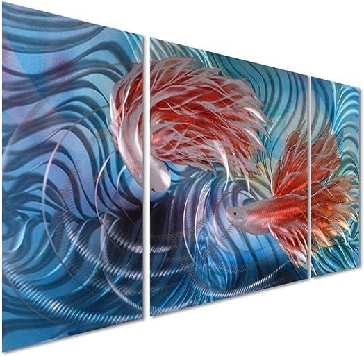 Tropical Fish Love Metal Wall Artwork Decor
