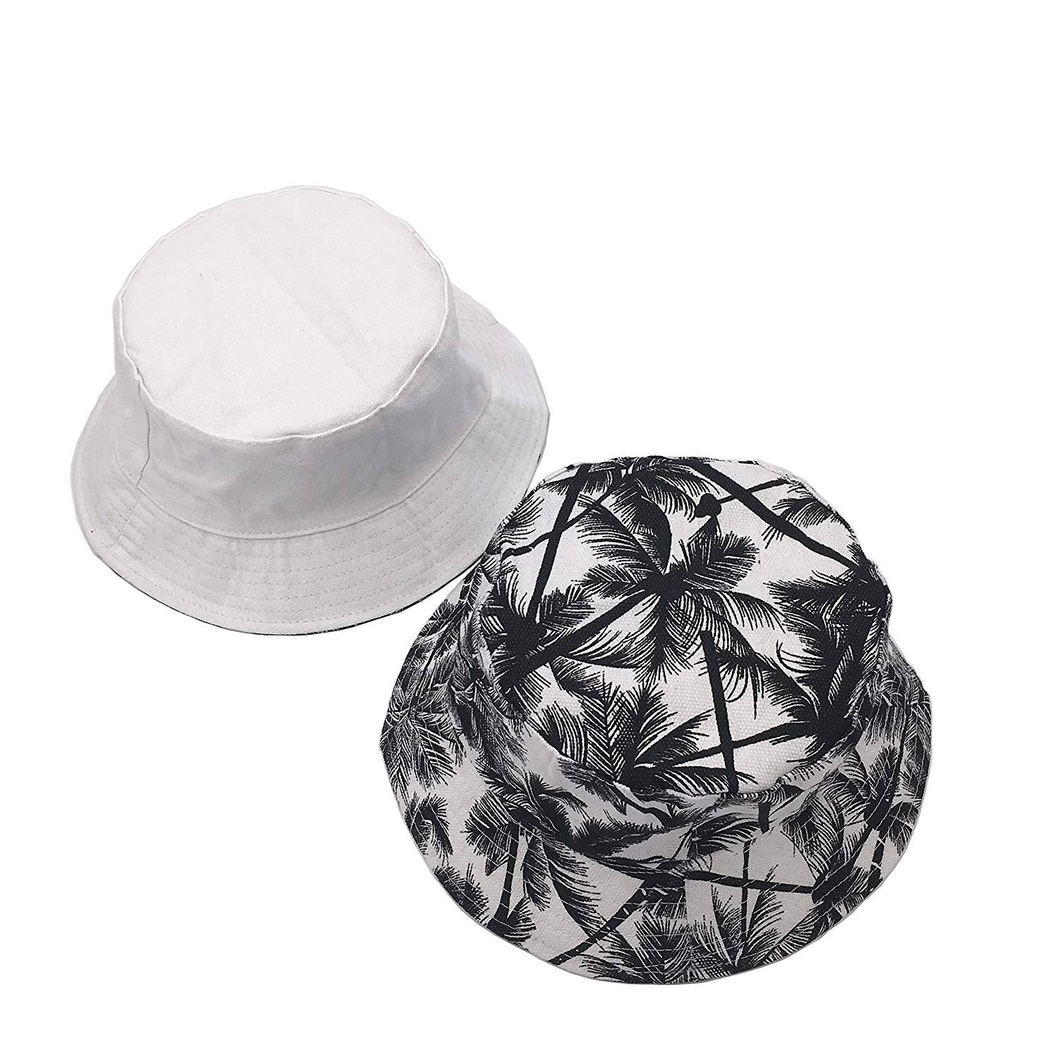 LWBTOSEE Bucket Hats for Men Dual-use Flat Top Bucket Hat Fisherman Hat with Coconut White