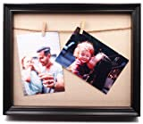 8x10 Black Wood Shadow Box with 2 Clothespin
