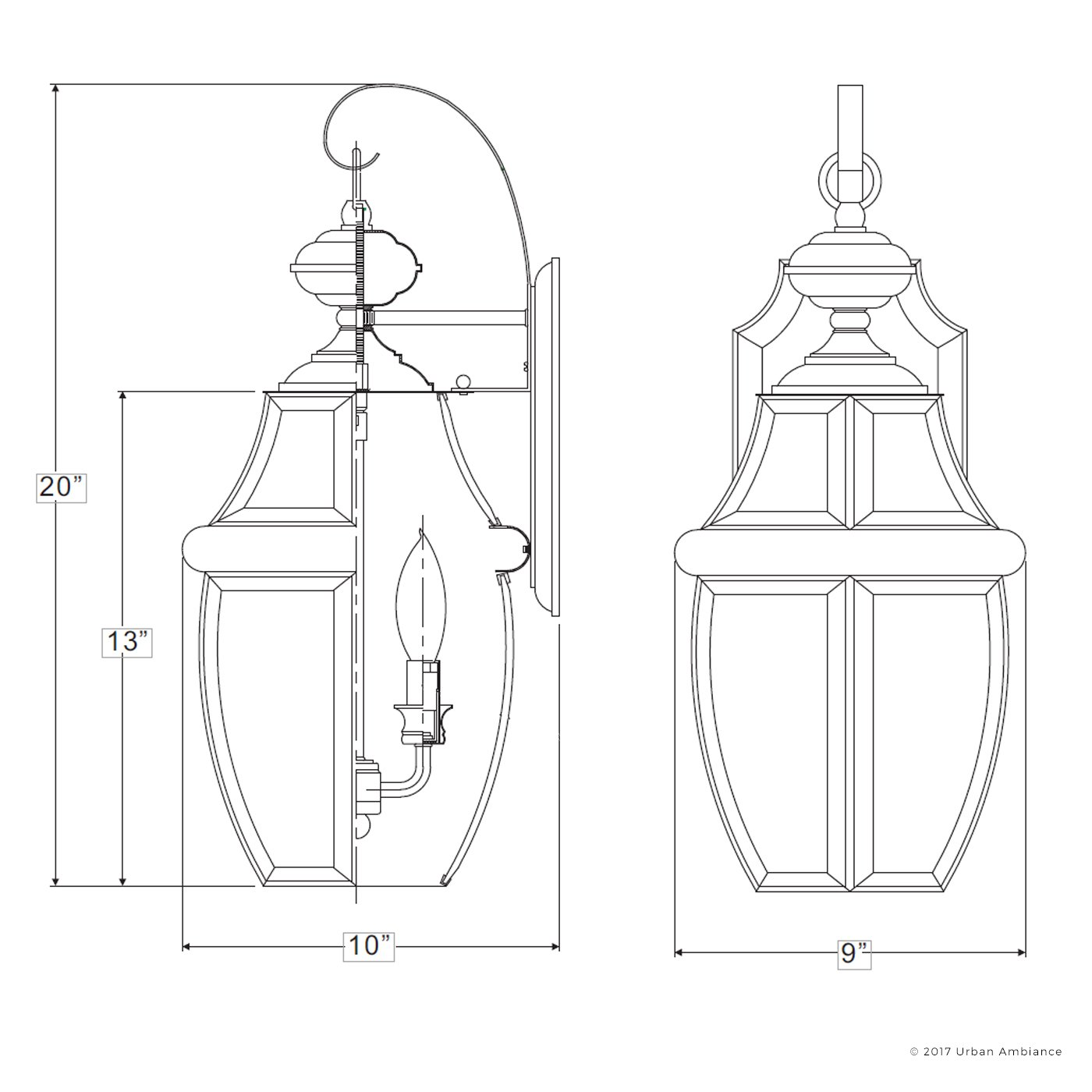 Luxury Colonial Outdoor Wall Light, Large Size: 20''H x 10.5''W, with Tudor Style Elements, Versatile Design, Classy Aged Silver Finish and Beveled Glass, UQL1145 by Urban Ambiance by Urban Ambiance (Image #5)