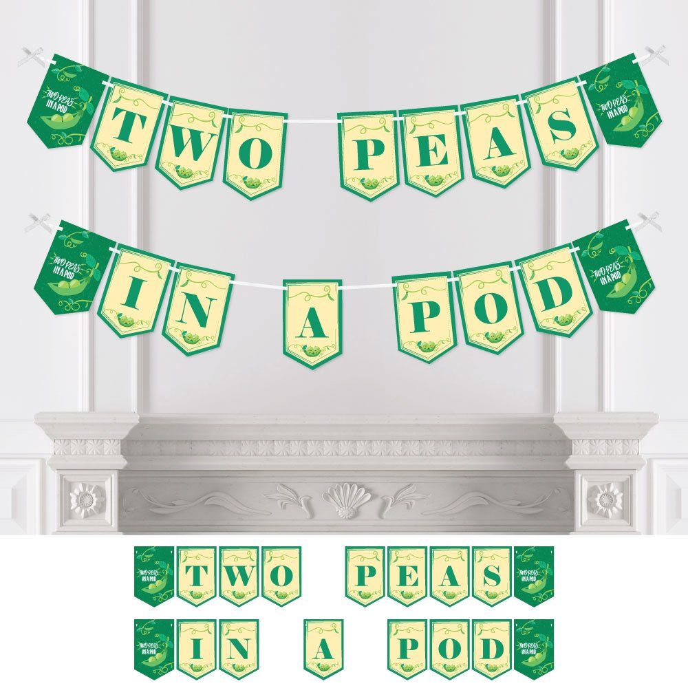 Big Dot of Happiness Double the Fun - Twins Two Peas in a Pod - Baby Shower Bunting Banner - Party Decorations - Two Peas in A Pod