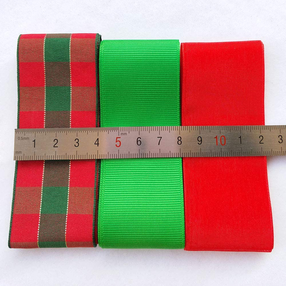 Libiline 18Yards Christmas Satin Grosgrain Ribbon Craft DIY Gift Packing  Hair Bow Accessory (Christmas Assorted)