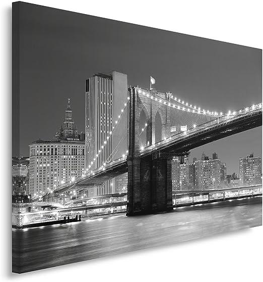 Feeby Frames Tableau Seul Panneau Ville LA Nuit Tableau imprim/é sur Toile Canvas 30x40 cm Tableau imprim/é XXL Tableau Deco Noir ET Blanc Pont ILLUMIN/É