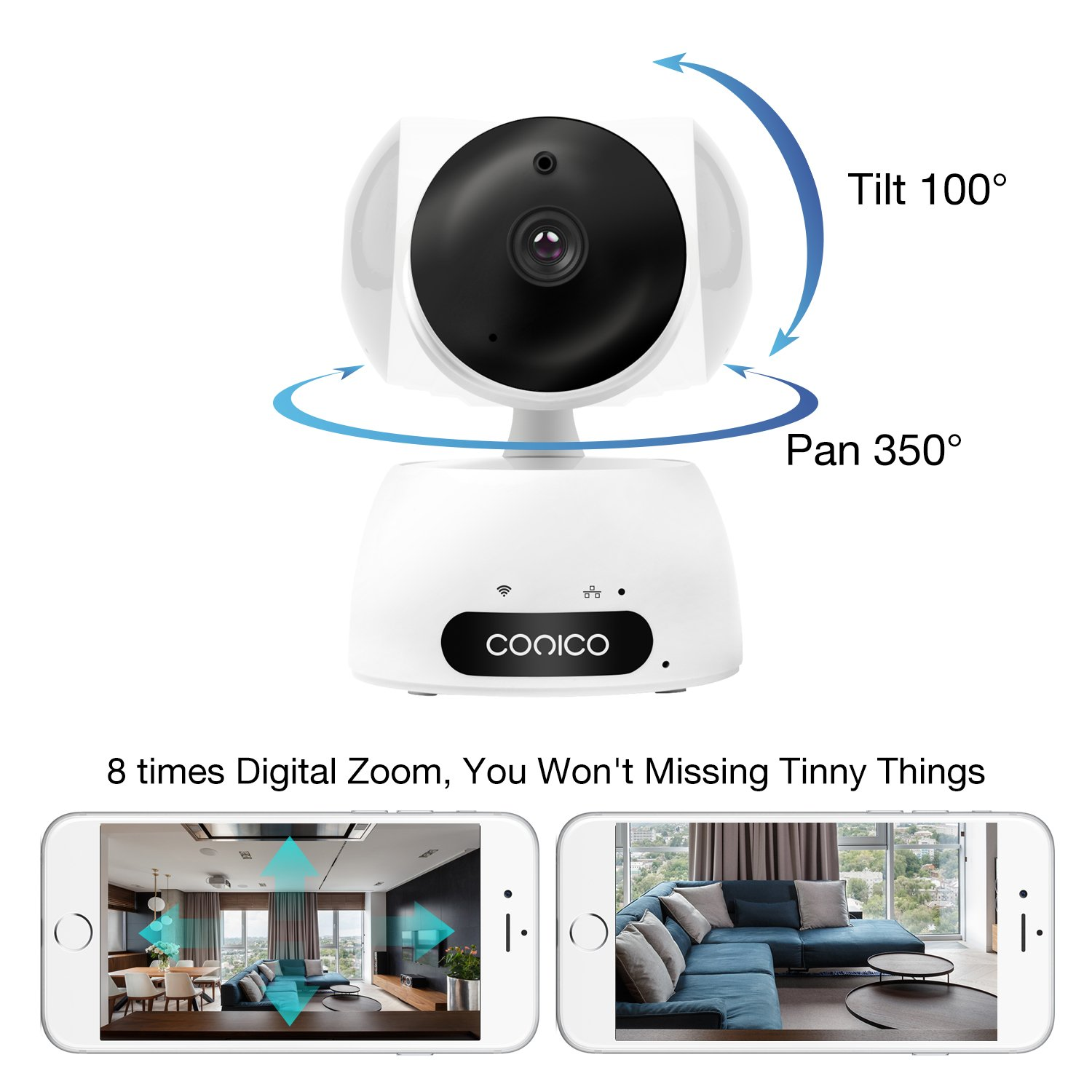 Video Baby Monitor, Conico 1080P Wireless WiFi Surveillance Camera Nanny Cam with Two Way Audio Night Vision Motion Detect Remote Viewing Pan Tilt Zoom for iPhone and Android by Conico (Image #4)